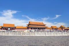 View on majestic pavilion, Palace Museum, Beijing, China Stock Photo