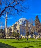 A view of the majestic Suleiman Mosque in Istanbul, Turkey. Turkey, Istanbul, 13,03,2018   A view of the majestic Suleiman Mosque in Istanbul, Turkey Royalty Free Stock Photography