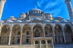 A view of the majestic Suleiman Mosque in Istanbul, Turkey. Turkey, Istanbul, 13,03,2018   A view of the majestic Suleiman Mosque in Istanbul, Turkey Royalty Free Stock Image