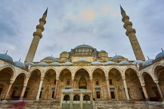 View of the majestic Suleiman Mosque patio, Istanbul, Turkey. Stock Images