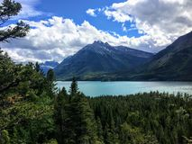 A view of a majestic turquoise lake surrounded by vast green evergreen forests and mountains on a sunny day with blue sky. This is Waterton Lakes, surrounded royalty free stock images