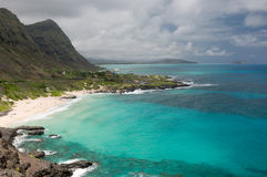 View of Makapuu Beach, Oahu, Hawaii Stock Photo