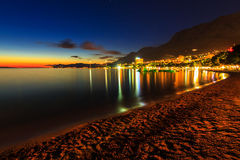 A view of Makarska beach,at dusk,Dalmatia,Croatia,Europe Royalty Free Stock Photos