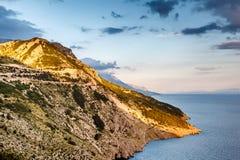 View on Makarska Riviera Coast in the Evening Stock Photos