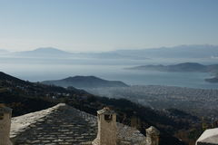 View from Makrinitsa, a small village in Volos,Greece Stock Photos