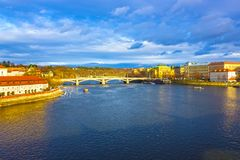 View of Mala Strana over Vltava river. At winter sunny day. Prague, Czech Republic Royalty Free Stock Images