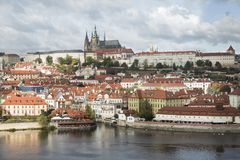 View of Mala Strana and Prague castle over Vltava river.  Royalty Free Stock Photo
