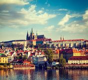 View of Mala Strana and  Prague castle over Vltava river Stock Photography