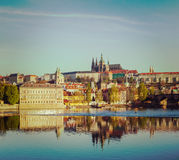 View of Mala Strana and  Prague castle over Vltava river Stock Image