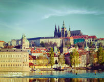 View of Mala Strana and  Prague castle over Vltava. Vintage retro hipster style travel image of Mala Strana and  Prague castle over Vltava river. Prague, Czech Stock Photo