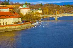 View of Mala Strana and Prague castle and St. Vitus Cathedral over Vltava river. At winter sunny day. Prague, Czech Republic Stock Photos