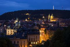View of Mala Strana in Prague at night. View of old buildings at the Mala Strana District Lesser Town and Petrin Hill in Prague, Czech Republic, at night Royalty Free Stock Photo