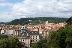 View of Mala Strana in Prague. View of old buildings at the Mala Strana District Lesser Town and Petrin Hill in Prague, Czech Republic, in the daytime Royalty Free Stock Photos