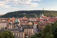 View of Mala Strana in Prague. View of old buildings at the Mala Strana District Lesser Town and Petrin Hill in Prague, Czech Republic, in the daytime Royalty Free Stock Images