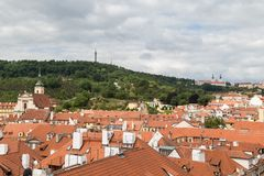 View of Mala Strana in Prague. View of old buildings from above and Petrin Hill at the Mala Strana District Lesser Town in Prague, Czech Republic Royalty Free Stock Photo