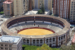 View of Malaga with the Plaza de Toros (bullring) from the aerial view, Spain Royalty Free Stock Image