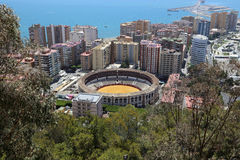 View of Malaga with the Plaza de Toros (bullring) from the aerial view, Spain Royalty Free Stock Images