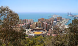 View of Malaga with the Plaza de Toros (bullring) from the aerial view, Spain Stock Image