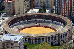 View of Malaga with the Plaza de Toros (bullring) from the aerial view, Spain Stock Photo