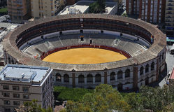 View of Malaga with the Plaza de Toros (bullring) from the aerial view, Spain Stock Photography