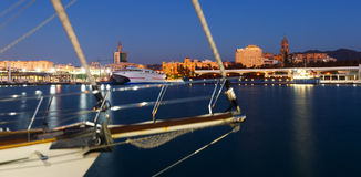 View of Malaga  from Port in  twilight Stock Photography