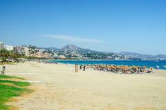View of Malagueta beach in Malaga city. Andalusia, Costa del Sol, southern Spain. Royalty Free Stock Image