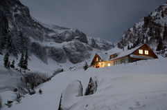 View of Malaiesti Chalet at night. Landscape of Malaiesti Valley with Malaiesti Chalet at night, Bucegi Mountains Stock Photography