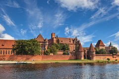 View of Malbork across river Nogat Royalty Free Stock Photo