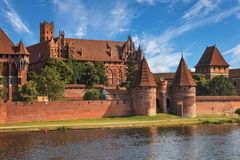 View of Malbork across river Nogat Stock Photo
