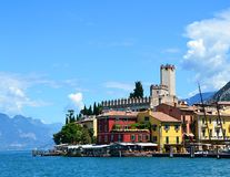 View of Malcesine village, Lago di Garda, region Lombardy, Italy.  royalty free stock image