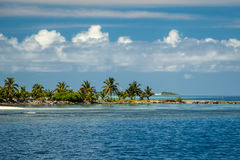 View of maldive`s island. Landscape of maldive`s island with palm trees from the ocean Royalty Free Stock Photography