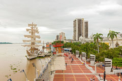 View at Malecon 2000 in Guayaquil,  Ecuador. Guayaquil, Ecuador - April 15, 2016: View at people walking at Malecon 2000. It is the name given to boardwalk Royalty Free Stock Images