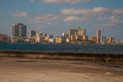 View from the Malecon promenade to the city. Cuba. Havana. View from the Malecon promenade to the city. Cuba. Havana Stock Image