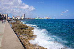 View of the Malecon, the seafront promenade in Havana. Cuba Stock Image