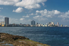 View from Malecon on sunny day, La Havana, Cuba. La Havana, Cuba: City view from Malecon on sunny day. Malecon it`s the most touristic place in La Havana Royalty Free Stock Photos