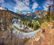 View from Maloja pass. Switzerland Alps Royalty Free Stock Photos