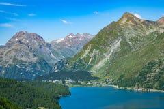 View of the Maloja pass in valley Engadine Switzerland. Beginnin. G of the Inn River Stock Images
