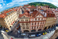 View of Malostranske namesti from the top of Saint Nicolas Churc Royalty Free Stock Images
