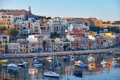 View on Malta bay between Kalkara and Birgu at early morning Royalty Free Stock Image