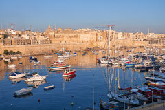 View on Malta bay between Kalkara and Birgu at  morning Royalty Free Stock Photos