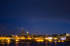 View of Malta. Old Valletta in night Royalty Free Stock Photo