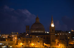 View of Malta. Old Valletta in night Royalty Free Stock Photography