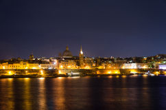 View of Malta. Old Valletta in night Royalty Free Stock Images