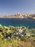 Capital of malta, valletta. View of the maltese capital of valletta as viewed from manouelle island in sliema bay Stock Photography