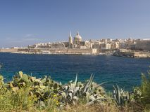 Capital of malta, valletta. View of the maltese capital of valletta as viewed from manouelle island in sliema bay Royalty Free Stock Images