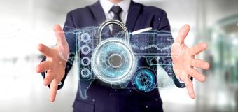 Man holding a padlock security technology interface 3d rendering. View of a Man holding a padlock security technology interface 3d rendering vector illustration
