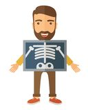 The view of man is holding a X-ray picture Royalty Free Stock Photo