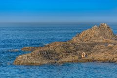View of man sitting on the rocks reading the newspaper and sunbathing on yellow towel, ocean and blue sky as background. Leca da Palmeira/Porto/Portugal - 10 04 royalty free stock image
