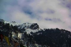 Snow Mountains with Cloudy sky royalty free stock photography