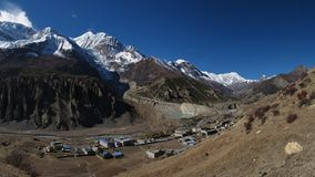 View of Manang, Gangapurna and Lake Gangapurna Royalty Free Stock Photos